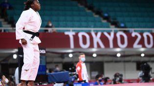 Clarisse Agbégnénou n'est plus qu'à une victoire d'une médaille d'or en judo aux Jeux de Tokyo, le 27 juillet 2021. (FRANCK FIFE / AFP)