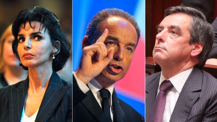 Rachida Dati, la maire du 7e arrondissement de Paris,François Fillon, le premier ministre, et Jean-François Copé, le secrétaire général de l'UMP. (SIPA / AFP / SIPA)