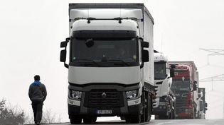 Des chauffeurs routiers bloquaientl'accès poids lourds à Castelnau-d'Estrétefonds (Haute-Garonne) en mars 2015 (MAXPPP)