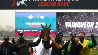 Face Time Bourbon a remporté dimanche 31 janvier 2021 son deuxième Prix d'Amérique consécutif. (CHRISTOPHE ARCHAMBAULT / AFP)