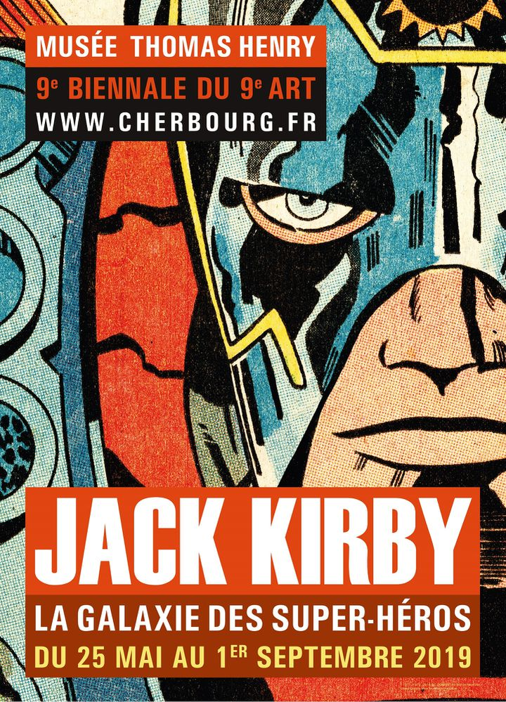 L'affiche de l'exposition Jack Kirby à Cherbourg (1971-2018 DC COMICS. All Rights Reserved)