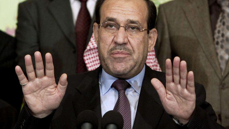 L'ancien Premier ministre irakien, Nouri Al-Maliki, lors d'une conférence de presse à Bagdad, le 26 mars 2010. (HADI MIZBAN / AP / SIPA)
