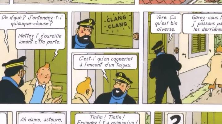 Tintin et le capitaine Haddock s'exprimant en sarthois  (Casterman)