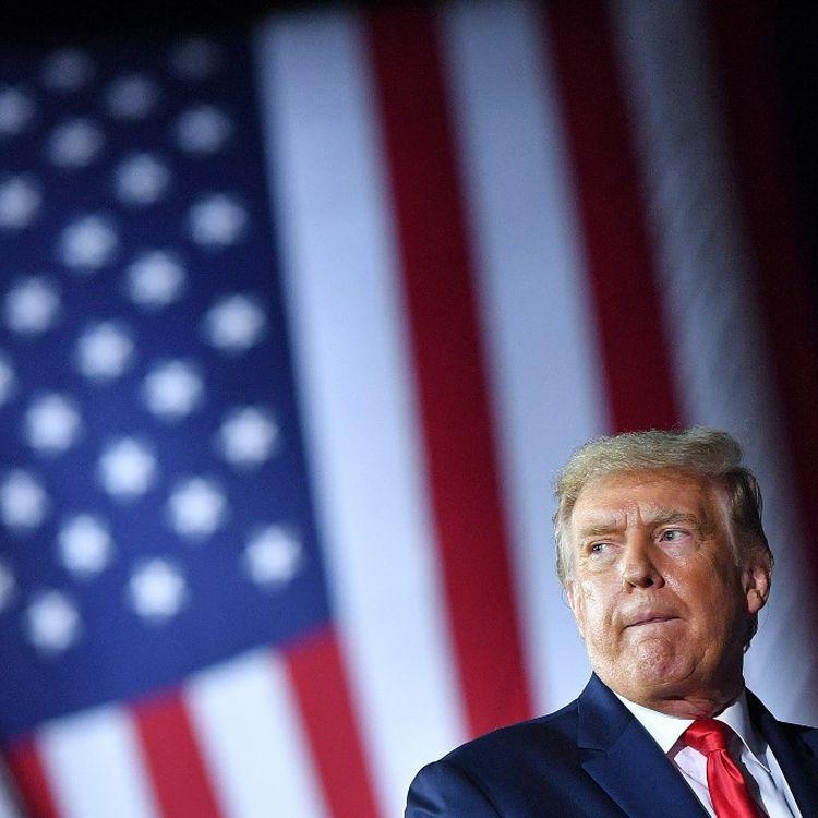 Donald Trump lors d'un meeting de campagne en vue de l'élection présidentielle américaine, le 10 septembre 2020, à Freeland (Michigan, Etats-Unis). (MANDEL NGAN / AFP)