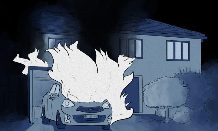 En avril 2019, la voiture de l'une des employées de JeanLuc Bagur est incendiée. (NICOLAS DEWIT / RADIO FRANCE)