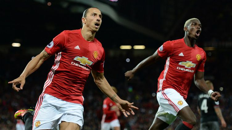 Zlatan Ibrahimovic et Paul Pogba (Manchester United) (OLI SCARFF / AFP)