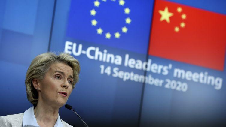 La présidente de la Commission européenne, Ursula von der Leyen, a l'issue du sommet virtuel avec le président chinois Xi Jinping. (YVES HERMAN / POOL / REUTERS POOL)