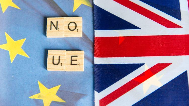 """Les drapeaux européen et britannque, sur lesquels figurent la mention """"Pas d'Union européenne"""" en anglais, en janvier 2020. (RICCARDO MILANI / HANS LUCAS / AFP)"""