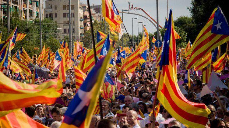 Forêt de drapeaux indépendantistes catalans le 11 septembre 2015, jour de la fête «nationale» en Catalogne. (JORDI BOIXAREU / NURPHOTO)