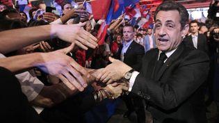 Nicolas Sarkozy tient un meeting de campagne à Paris, le 31 mars 2012. (EULER / SIPA)