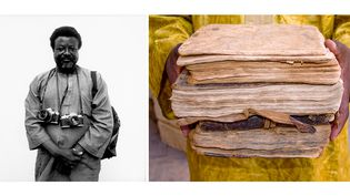 A gauche, portrait dePhilippe Koudjina par Didier Frappier, 1995 - A droite, Seydou Camara, Manuscrits de Tombouctou, 2009  (A gauche Didier Frappier - A droite © Seydou Camara )