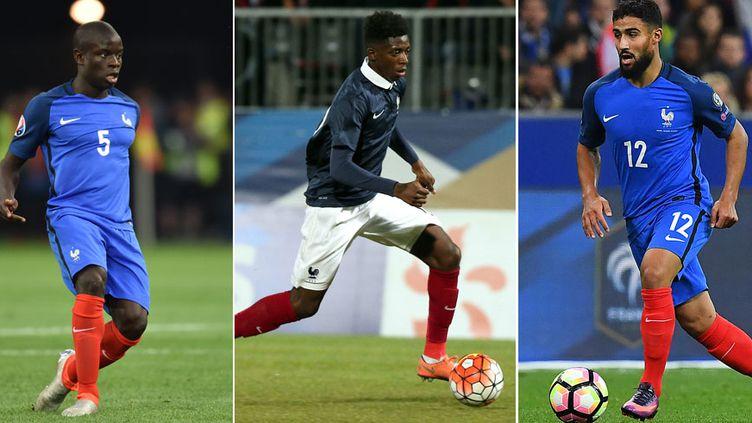 Les joueurs français N'Golo Kanté, Ousmane Dembele et Nabil Fékir