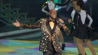 """Le chanteur dominicain Johnny Ventura sur scène lors des """"Soberano Awards"""" à Saint-Domingue, le 18 mars 2014 (ERIKA SANTELICES / AFP)"""