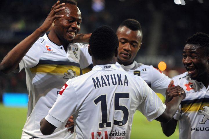 Deux minutes après être entré en jeu, Emmanuel Mayuka a offert la victoire à Sochaux à la 77e minute. (JEAN-FRANCOIS MONIER / AFP)
