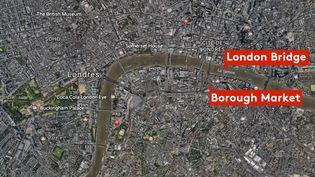 Une carte des lieux où la camionnette a fauché des piétons et où les assaillants ont poignardé des passantsà Londres (Royaume-Uni), dans la nuit du 3 au 4 juin 2017. (FRANCEINFO)