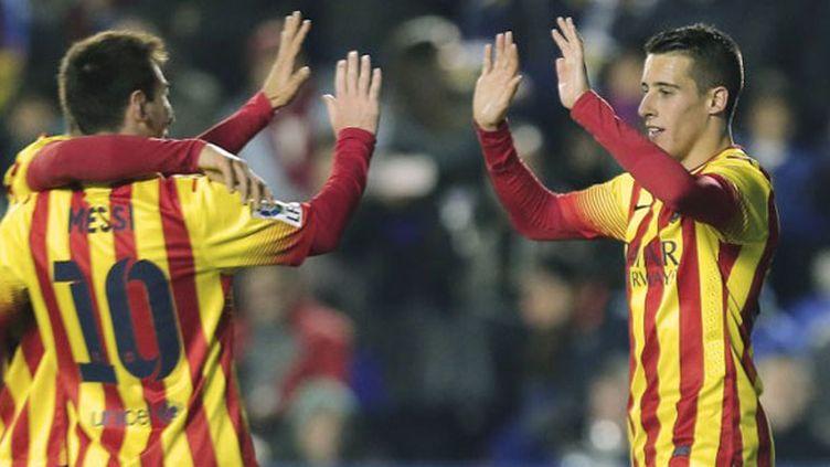 Lionel Messi et le jeune Tello heureux avec le FC Barcelone