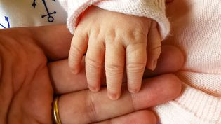 Un père tient la main de son nouveau-né, le 30 août 2020, à Valence (Drôme). (NICOLAS GUYONNET / HANS LUCAS / AFP)