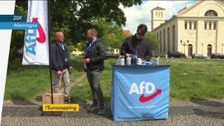 Un stand de l'Afd en Allemagne. (franceinfo)