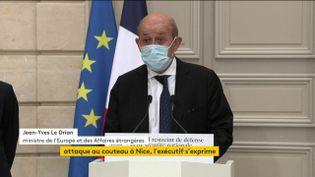 Le ministre de l'Europe et des Affaires étrangères, Jean-Yves Le Drian, lors d'une conférence de presse, à l'Elysée, le 30 octobre 2020. (FRANCEINFO)