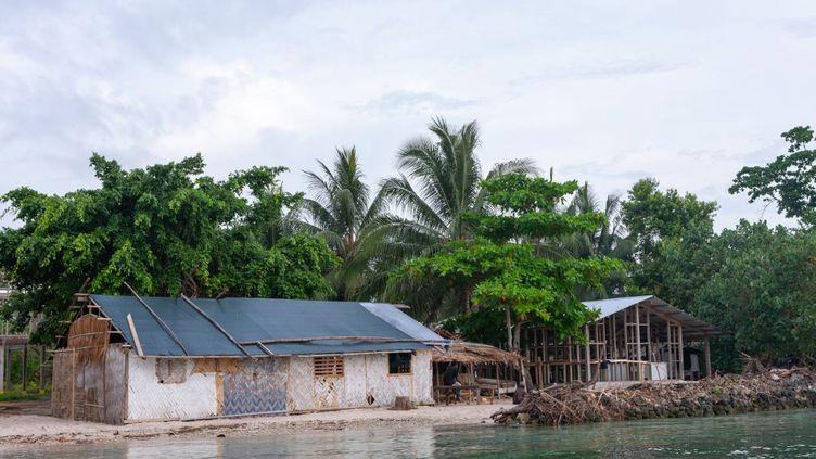 Une protection de fortune contre la montée des eaux dans un village côtier de Papouasie-Nouvelle-Guinée, en octobre 2009. (ERIC LAFFORGUE / HANS LUCAS / AFP)