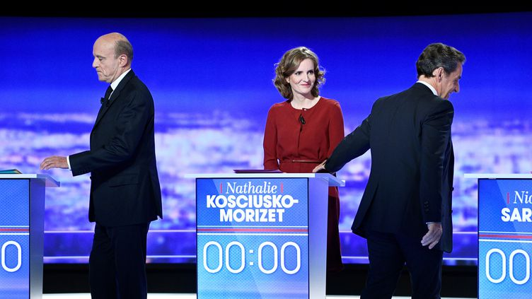 Alain Juppé, Nathalie Kosciusko-Morizet et Nicolas Sarkozy, jeudi 13 octobre 2016 à la plaine Saint-Denis, lors du premier débat télévisé sur la primaire à droite. (REUTERS)