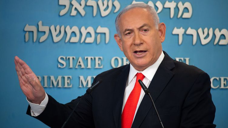 Le Premier ministre israélien Benjamin Netanyahulors d'une conférence de presse sur l'épidémie decoronavirus en Israël, à son bureau de Jérusalem, le 13 septembre 2020. (YOAV DUDKEVITCH / POOL)