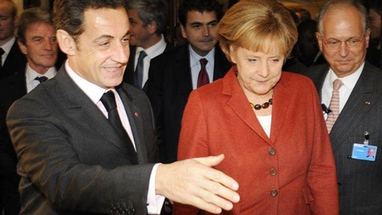 Le couple franco-allemand à Munich, pour la 45e conférence sur la sécurité, le 7 février 2009. (AFP/OLIVER LANG)