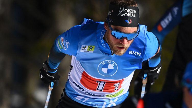 Antonin Guigonnat sur le relais simple mixte des championnats du monde (JOE KLAMAR / AFP)