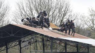 """Des militants sont évacués du toit de la ferme des """"100 Noms"""", dans la ZAD de Notre-Dame-des-Landes (Loire-Atlantique), le 9 avril 2018. (SEBASTIEN SALOM GOMIS / SIPA)"""