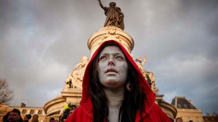Marianne chez les Gilets Jaunes, place de la République à Paris, lors de la manifestation du 2 février 2019. (GETTY IMAGES)