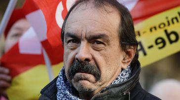 Le secrétaire général de la CGT, Philippe Martinez, lors d'une manifestation contre la réforme des retraites à Paris, le 6 février 2020. (THOMAS SAMSON / AFP)