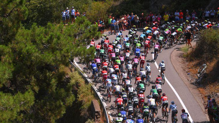 Le peloton en pleine montée sur les routes de la 72e édition du Tour d'Espagne. (DE WAELE TIM / TDWSPORT SARL)