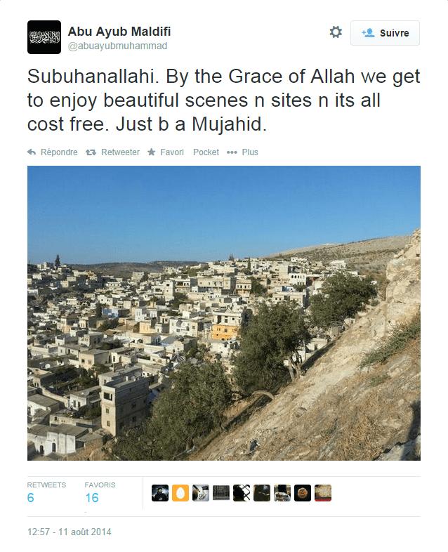 """En Syrie. """"Par la grâce d'Allah, nous profitons de sites et de paysages magnifiques et tout cela est gratuit. Il suffit d'être unmoudjahid."""" (ABU AYUB MALDIFI)"""