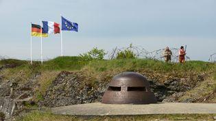 Les drapeaux Allemands, Françaiset de l'Union européénne,au Fort de Douaumont près Verdun (Meuse), le 25 avril 2014. (UWE ZUCCHI / DPA)