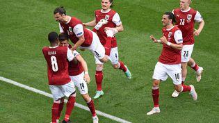Christoph Baumgartner a ouvert le score pour l'Autriche face à l'Ukraine. (MIHAI BARBU / POOL)
