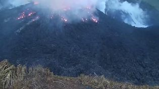 Des images de la Soufrière,levolcan de l'île caribéenne de Saint-Vincent, le 8 avril 2021, quelques heures avant une éruption explosive. (THE UWI SEISMIC RESEARCH CENTRE / AFP)