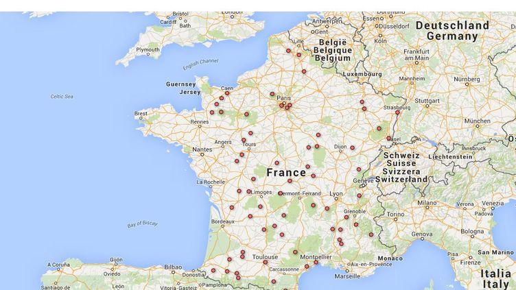 La carte de 66 communesde France métropolitaineoù un service d'urgence accueille moins de 10 000 patients par an, une activité jugée trop faible par un rapport remis au ministère de la Santé en juillet. (GOOGLE MAPS / FRANCETV INFO)