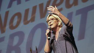 Marine Le Pen, présidente du Front national, à Bruguières (Haute-Garonne), le 23 septembre 2017. (ERIC CABANIS / AFP)