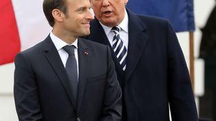 Les présidents américain et français, Donald Trump et Emmanuel Macron, à la Maison Blanche (Etats-Unis), le 24 avril 2018. (LUDOVIC MARIN / AFP)