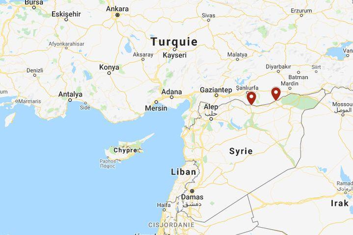 Le 9 octobre 2019, les troupes turques ont pénétré en Syrie à proximité des villes syriennes de Tell Abyad et de Ras al-Aïn, plus à l'Est. (MY MAPS / GOOGLE MAPS)