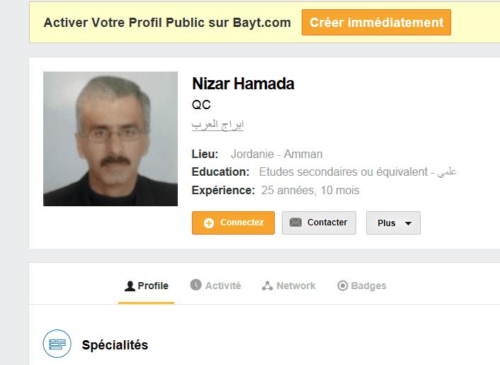 Capture écran du profil Bayt de Nizar Hamada. (BAYT)