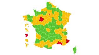 Carte de France du taux d'incidence Covid-19 par département. (FRANCEINFO)