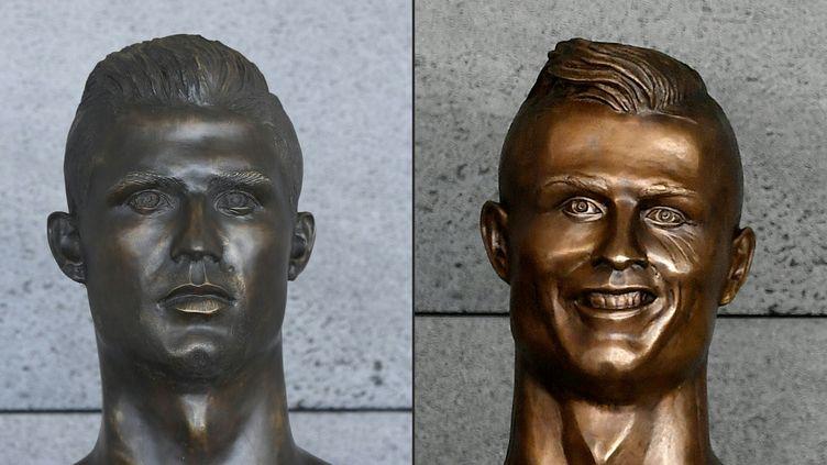 Le nouveau buste de Christiano Ronaldo et l'ancien (à droite), à l'aéroport de Madère (Portugal), le 18 juin 2018. (FRANCISCO LEONG / AFP)