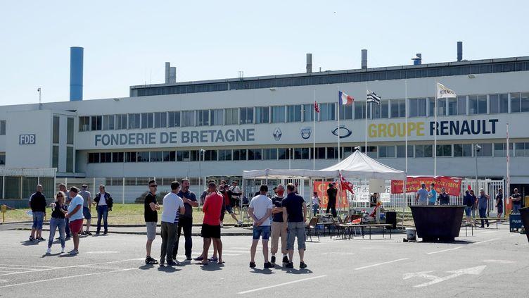 La Fonderie de Bretagne à Caudan (Morbihan) lors d'un précédent mouvement social, le 28 mai 2020. (MAXPPP)