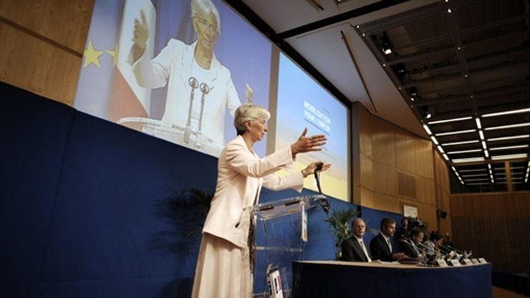 Christine Lagarde lors d'un point de presse à Paris le 28 août 2009 (© AFP PHOTO OLIVIER LABAN-MATTEI)