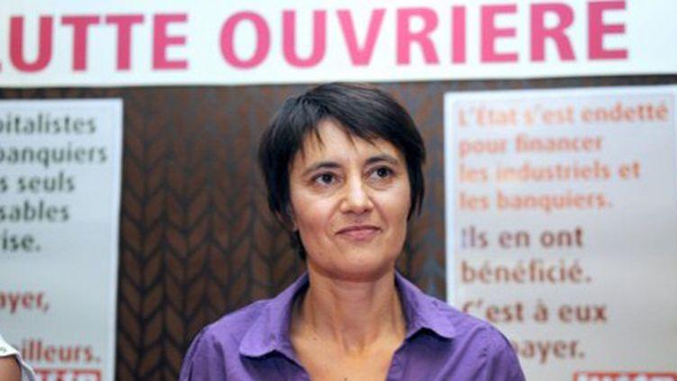 """Nathalie Arthaud, candidate pour Lutte Ouvrière à la présidentielle, estime qu'une """"explosion sociale"""" est inévitable. (AFP PHOTO - MICHEL GANGNE)"""