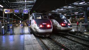 Deux TGV à la Gare de l'Est à Paris, le 23 décembre 2019. (STEPHANE DE SAKUTIN / AFP)