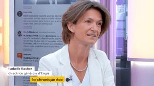 """Invitée de Jean-Paul Chapeldans """":L'éco"""", mardi 13 juin, Isabelle Kocher, directrice générale d'ENGIE, parle dela baisse des prix du gaz et de la future réforme des statuts. (FRANCEINFO)"""