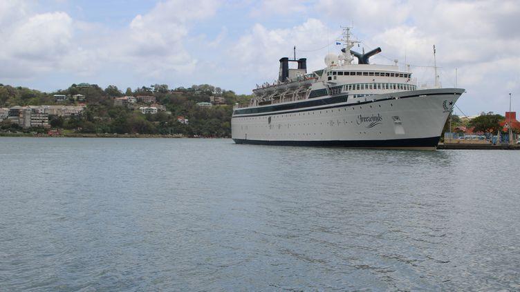 """Le bateau de la scientologie """"Freewinds"""" est en quarantaineà cause de la rougeole, àSainte-Lucie (Caraïbes) le 2 mai 2019. (STRINGER / REUTERS)"""