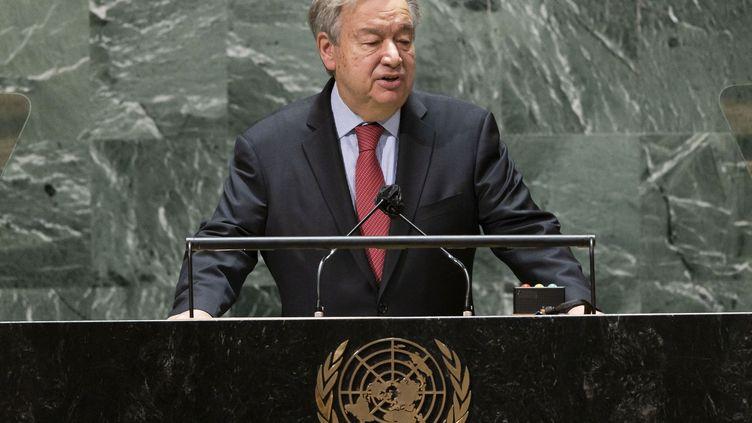 Antonio Guterres s'exprime depuis le siège des Nations Unies à New York, le 22 septembre 2021. (POOL / GETTY IMAGES NORTH AMERICA / AFP)